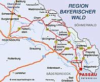 Karte 3-Flüsse Stadt Passau
