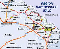 Karte Bayerwald